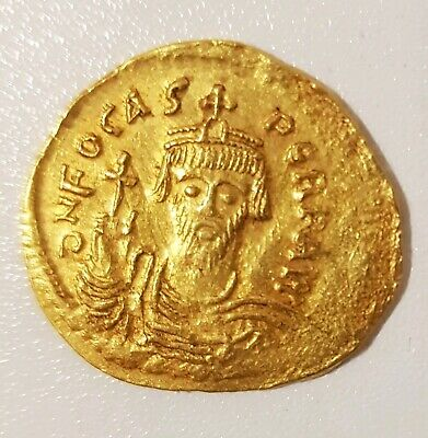 Byzantine Empire Gold Solidus Of Phocas -Rare Coin