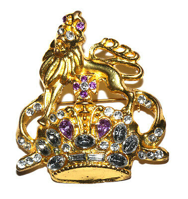 TBN, PRAYER LINE Gold Tone Brooch With Lion, Crown -,Purple