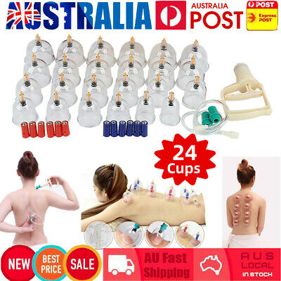 Pain Relief 24 Cups Vacuum Cupping Set Massage Kit Suction Massager AU