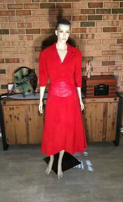 70s Stunning Lipstick Red Genuine Leather and Suede Skirt and Jacket