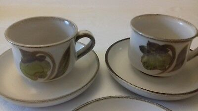 Two Denby Troubadour tea/coffee cups and 3 x saucers
