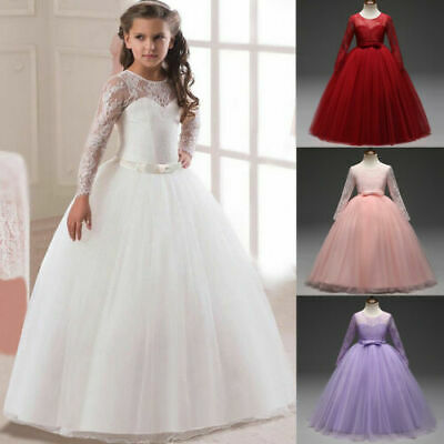 Long Sleeve Flower Girls Princess Lace Dress Party Formal Wedding Bridesmaid New