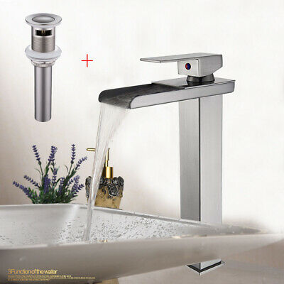Brushed Nickel Waterfall Bathroom Basin Faucet Vessel Sink One Handle Mixer Tap
