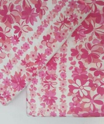 Pretty Pink Floral Vintage Retro Cotton Sheet FABRIC Sewing AS NEW crisp unused