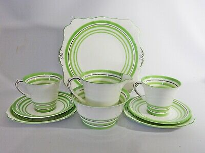 Antique Art Deco Vintage Roslyn Bone China Tea Set Trio Cake Plate Green Silver