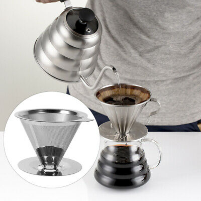 New Stainless Steel Reusable Coffee Filter Holder Pour Over Mesh Tea Dripper Cup