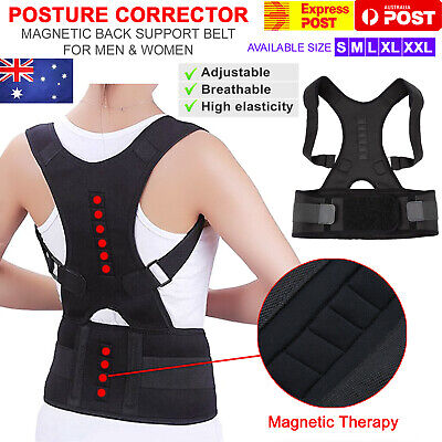 Posture Corrector Support Men Women Magnetic Back Shoulder Brace Belt Adjustable
