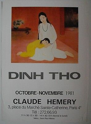 Affiche DINH THO 1981 Exposition Galerie Claude Hemery