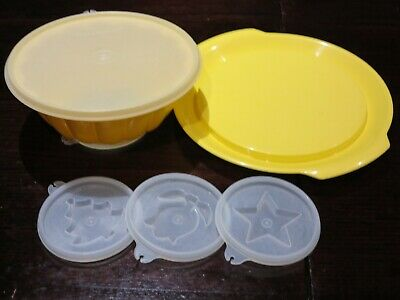 TUPPERWARE Small JEL-N-SERVE JELLY RING MOULD with serving plate and 4 seals