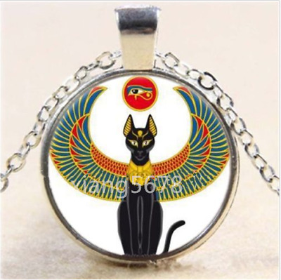Egyptian Cat With An Eye Cabochon Glass Tibet Silver Chain Pendant Necklace