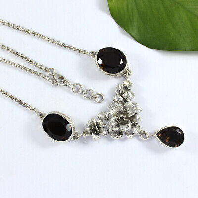 "Natural Smoky Gemstone Chain Necklace 18"" 925 Sterling Silver Gift Jewelry NN152"