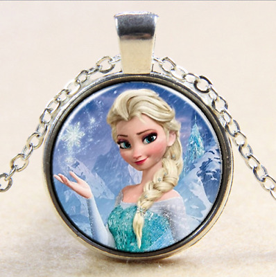 FROZEN PENDANT Silver Plated CHAIN NECKLACE ROYAL PRINCESS Anna & Elsa