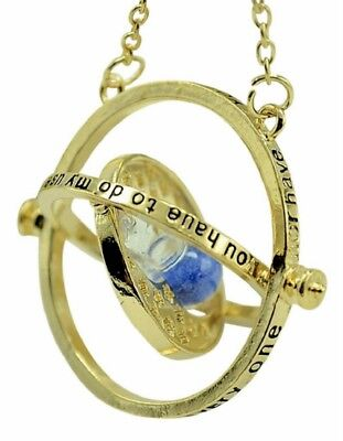 Harry Potter Time Turner Hermione Granger Hourglass Pendant Necklace  Gold Blue