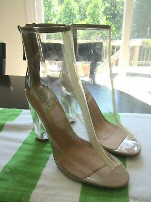 0611af97589 CAPE ROBBIN BENNY-1 Perspex Peep Toe Ankle Boots Booties HOT 10 Nude EUC  Shoes