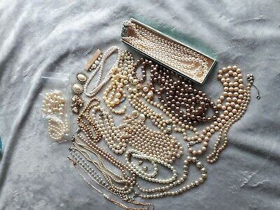 Vintage Job Lot Pearl Necklaces and Earrings
