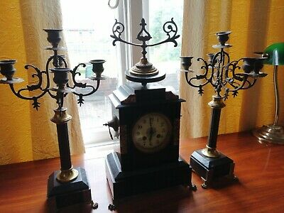Antique Mantle Clock French Marble Garniture Clock Set With Candelabras