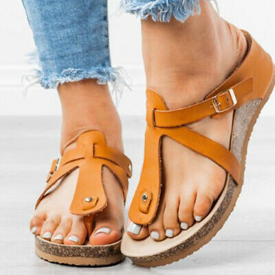 Womens Cork Footbed Sandals Flip Flops Summer Casual Toe Post Slippers Shoes