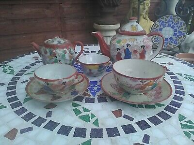 late 1700s antique chinese fine bone tea set, hand painted