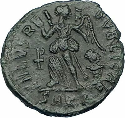 THEODOSIUS I the Great 388AD Authentic Ancient Roman Coin VICTORY ANGEL i65761