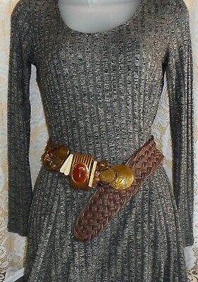 Marjorie Baer SF Contemporary Belt With Large Mixed Media Buckle On Woven Belt