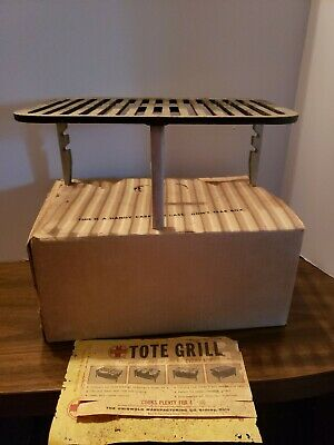Vintage Griswold 137 Cast Iron Tote Grill Portable Camping Charcoal Original Box