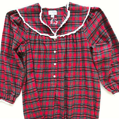 NWT Lanz of Salzburg Flannel Henley Nightgown Red Plaid Long Gown 100/% cotton