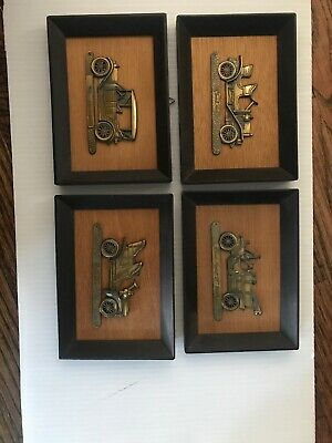 Vtg 1960's Set(4) Brass Antique Car Mounted Wood Framed Plaque Wall Hanging