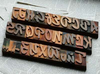 "A-Z alphabet 2.52"" letterpress wooden printing blocks wood type Vintage Retro"