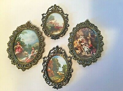 4 Small Vintage Oval Ornate Metal / Glass Frame Pictures Made in Italy 2 sizes
