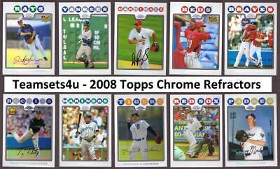 2008 Topps Chrome Refractors Baseball Set ** Pick your Team ** See Checklist