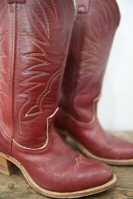 Vtg Boots Cowboy Cowgirl Country Western Southwestern Leather Rainbow Stitched