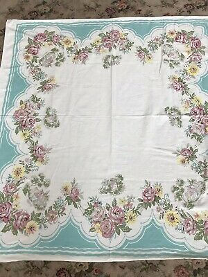 Adorable Vintage Pink Roses Tablecloth Foxgloves English Cottages Yellow Daisies