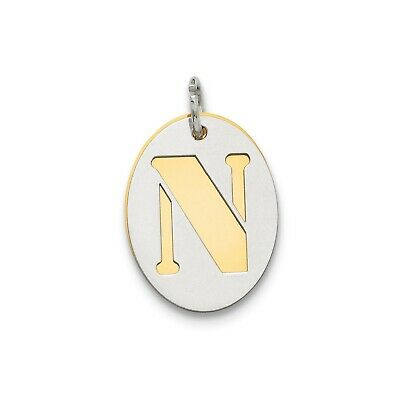 Sterling Silver GP Initial N Double Plate Oval Charm (0.7in x 0.6in)