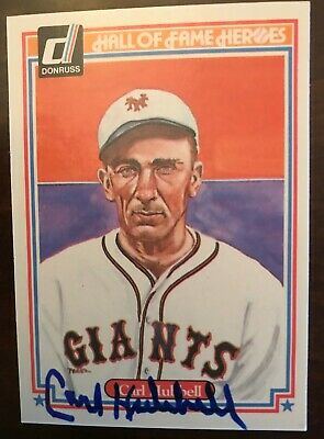 CARL HUBBELL (AUTOGRAPHED) 1983 Donruss HALL OF FAME Heroes #33