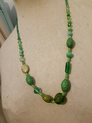 Vintage c 1930's Deco Czech Glass Bead Necklace - Neiger Glass 20's green