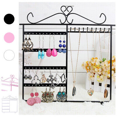 Jewelry Wall Mount Table Stand Organizer Earring Holder Necklace Display Rack