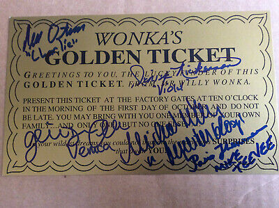 Willy Wonka Autographed Golden Ticket 5 Signed