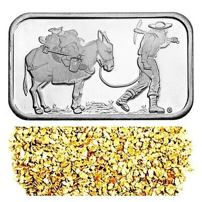 1 Troy Oz .999 Silver Retro Prospector Bar + 10 Piece Alaskan Pure Gold Nuggets