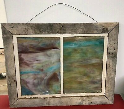 Vintage Stained Leaded Slag Glass Church Window Antique Barnwood Frame Antique