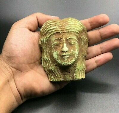 EGYPT EGYPTIAN ANTIQUES Faience Head PHARAOH QUEEN CLEOPATRA Mask Statue BC