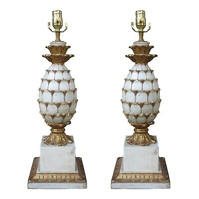 Mid Century Italian Carved Wooden Pineapple Lamps