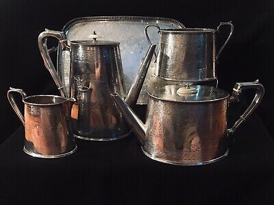 Georgian Old Sheffield Plate Silver 4pc. Tea/Coffee Set +tray