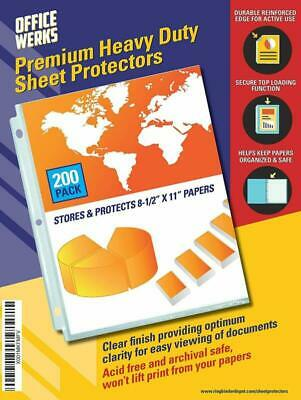 Heavy Duty Clear Sheet Protectors 8.5 x 11 Inch, 200 sheet protectors pack, Top