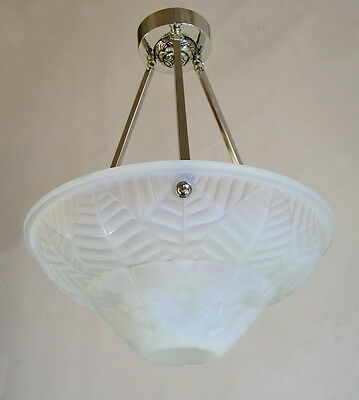 CHARLES RANC : FRENCH 1930 ART DECO CHANDELIER  opalescent suspension lamp lampe