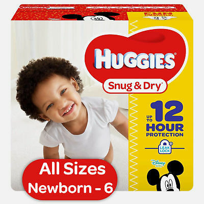 HUGGIES Snug & Dry Diapers Choose Size 1, 2, 3, 4, 5, 6 Newborn Free Shipping