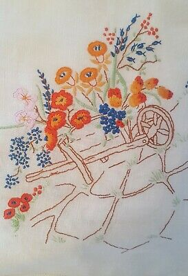 Wild Flowers IN WHEELBARROW/PINK ORCHIDS Vintage Hand Embroidered Tablecloth