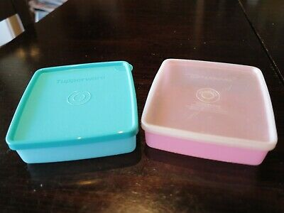 Vintage retro Tupperware Square Away Lunch Box Snack Container- Pastels-set of 2