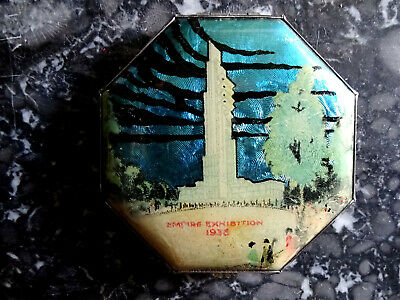 Rare GWENDA  Foil Powder Compact Vintage 1930s Art Deco Faux Butterfly Wing