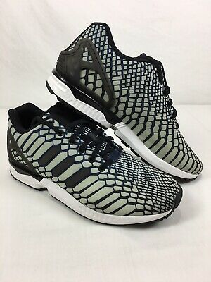Reflective adidas ZX Flux Aq4534 White Green Running Shoes