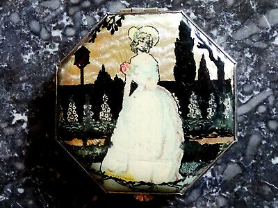 Rare Vintage 1930s Art Deco Foil Powder Compact GWENDA Faux Butterfly Wing